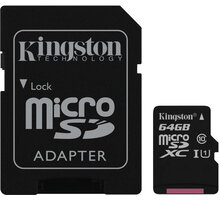 Kingston Micro SDXC 64GB Class 10 UHS-I + SD adaptér - SDC10G2/64GB