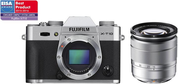 Fujifilm X-T10 + 16-50mm, stříbrná
