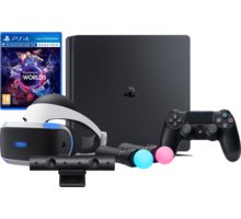 VR GAMING SET - PS4 Slim, 1TB - PS719851059B2 + Virtuální brýle PlayStation VR + PlayStation 4 - Move Controller, twin pack, černý + PlayStation 4 - Kamera v2 + PlayStation VR Worlds (PS4 VR)