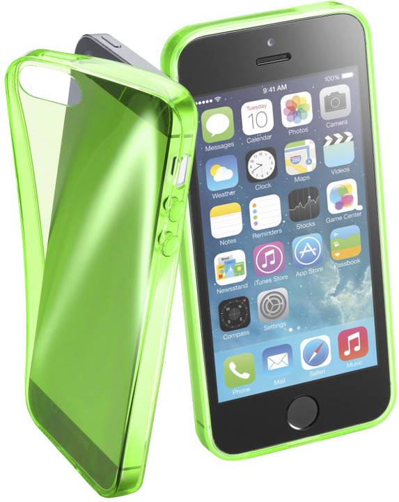 Cellularline FLUO barevné gelové pouzdro pro Apple iPhone 5/5S/SE, zelené