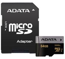ADATA Micro SDXC Premier Pro 64GB UHS-I U3 + adaptér - AUSDX64GUI3CL10-RA1
