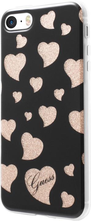 Guess Hearts TPU Pouzdro Black pro iPhone 5S/SE