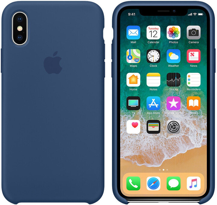 Apple silikonový kryt na iPhone X, kobaltově modrá