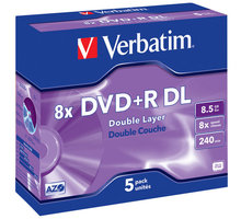 Verbatim DVD+R DL 8x 8,5GB jewel 5ks - 43541