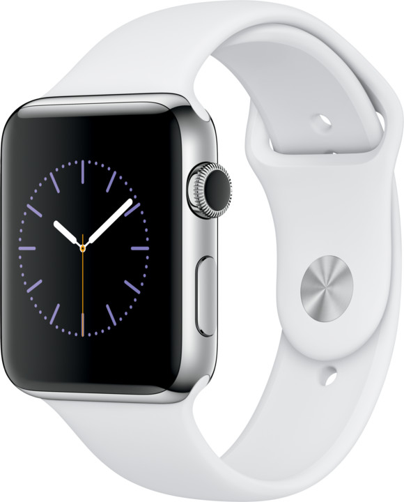 Apple Watch 2 42mm Stainless Steel Case with White Sport Band