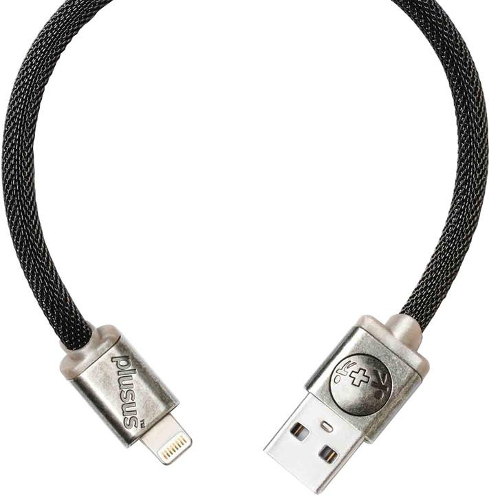 PlusUs LifeStar Designer USB Charge & Sync cable Lightning - Dark Grey