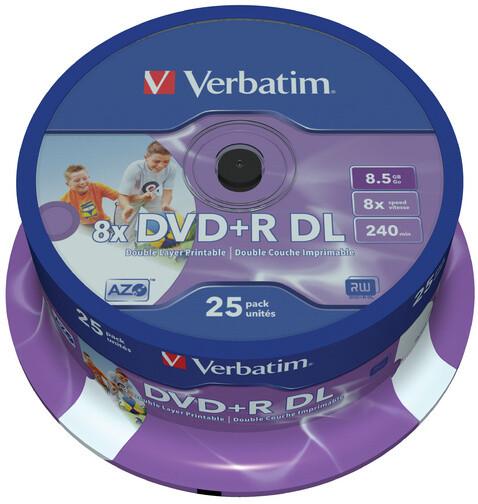 Verbatim DVD+R Printable DL 8x 8,5GB spindle 25ks