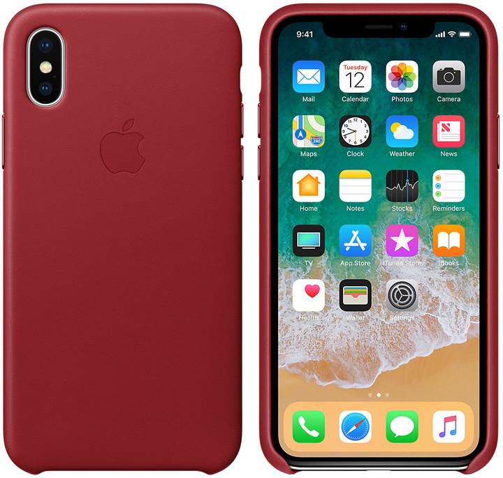 Apple kožený kryt na iPhone X (PRODUCT)RED, červená