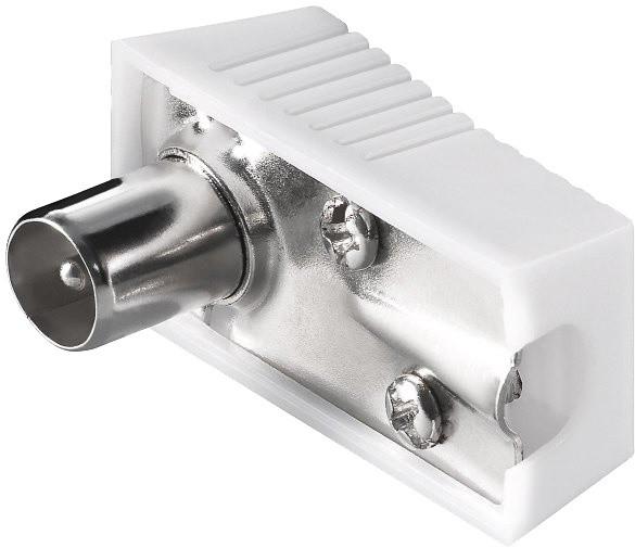 PremiumCord TV antenní konektor IEC úhlový-M, 75 Ohm, plochý konektor