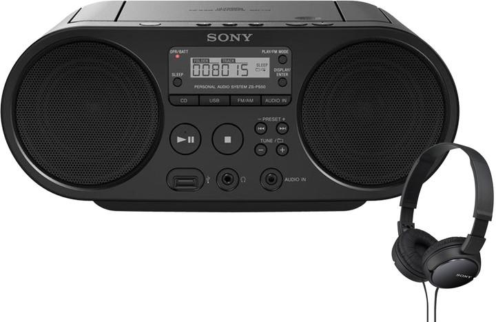 Sony ZS-PS50X110, černá + sluchátka MDR-ZX110B