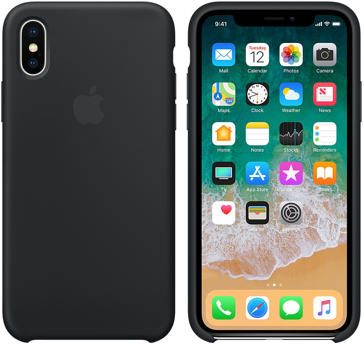 Apple silikonový kryt na iPhone X, černá