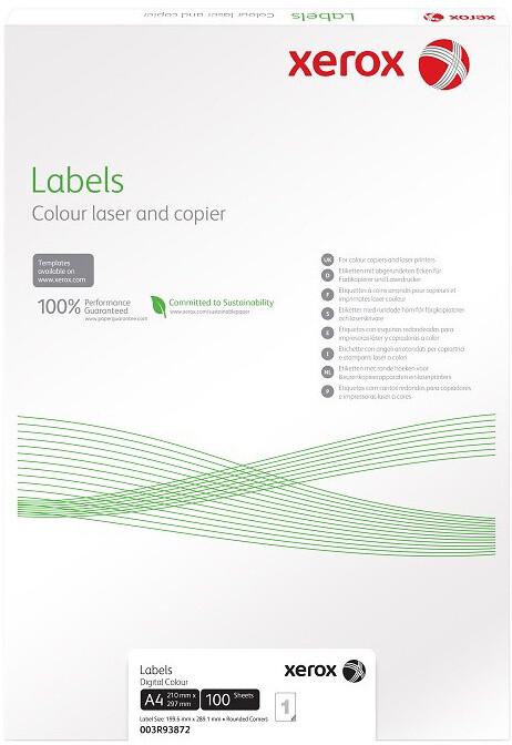 Xerox bílé samolepicí štítky pro černobílý tisk - ostré rohy, A4, 100ks, 8UP 105x71