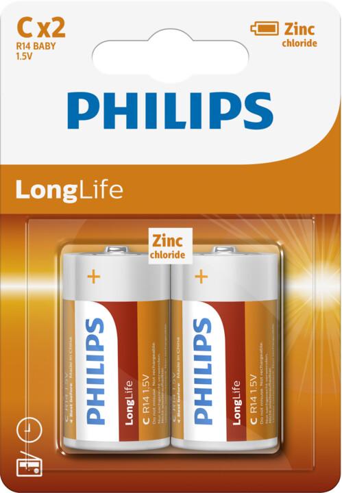 Philips baterie C LongLife zinkouhlíková - 2ks, blister