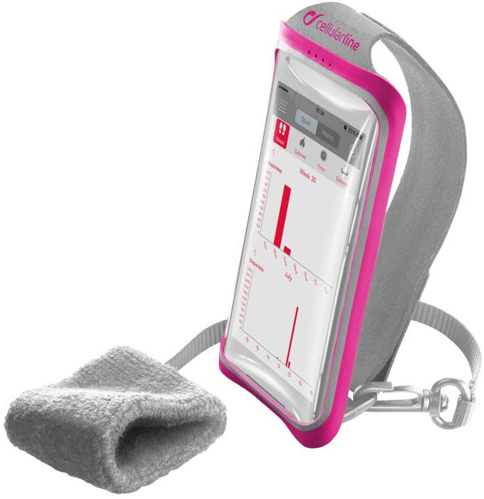 """CellularLine sportovní pouzdro HANDBAND, pro smartphony do velikosti 5,2"""", růžová"""