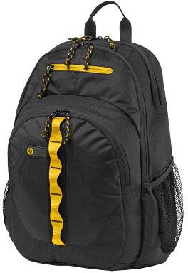 HP Sport Backpack, černá se žlutými prvky