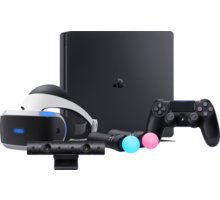 VR STARTER SET - PS4 Slim, 500GB - PS719845553B1 + Gamepad Sony DS4 V2, černý v ceně 1400 Kč + Virtuální brýle PlayStation VR + PlayStation 4 - Move Controller, twin pack, černý + PlayStation 4 - Kamera v2