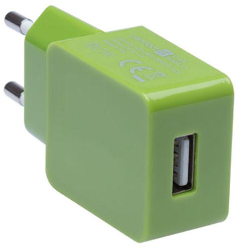 CONNECT IT nabíjecí adaptér 1xUSB port 1 A, zelená