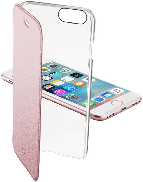 CellularLine Clear Book průhledné pouzdro typu kniha pro Apple iPhone 7, růžová