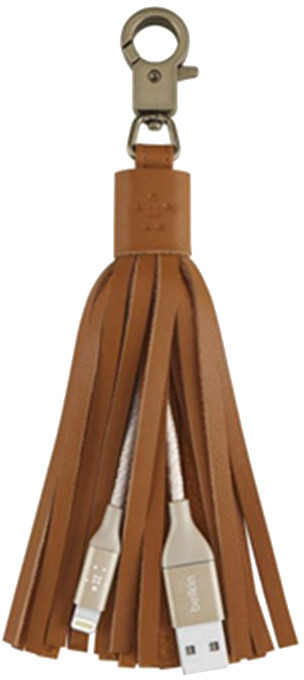 Belkin Lightning USB dobíjecí kabel v klíčence, kožený střapec - hnědá