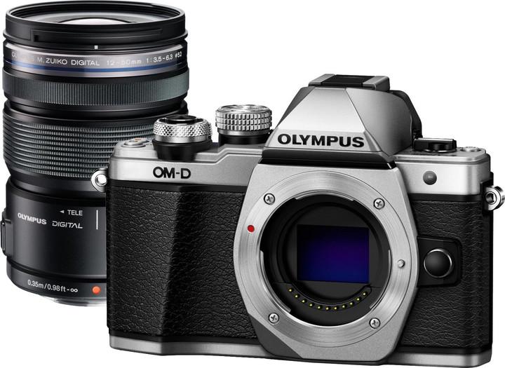 Olympus E-M10 Mark II + 12-50mm EZ, stříbrná/černá
