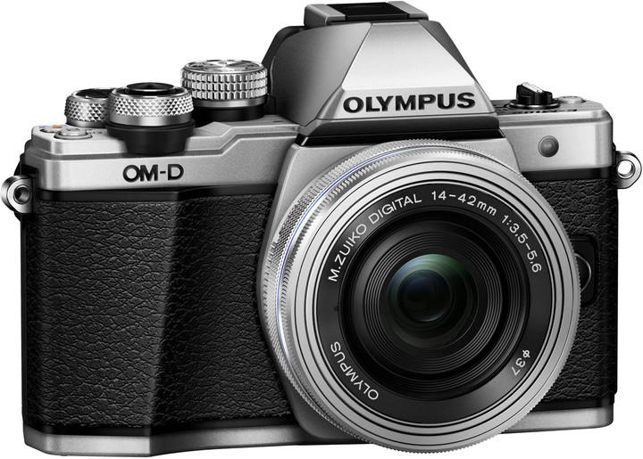 Olympus E-M10 Mark II + 14-42mm, stříbrná/stříbrná
