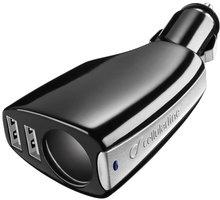 CellularLine autonabíječka s CL výstupem a 2 USB porty, černá - TRIPLEPOWER