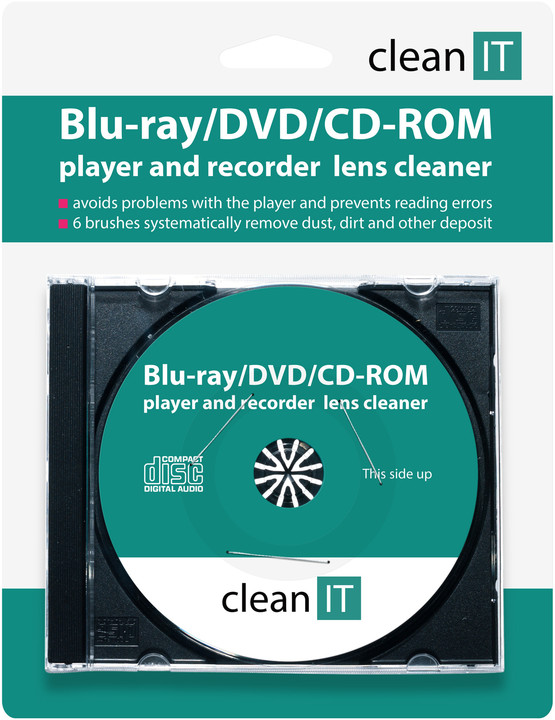 Clean IT pro Blu-ray/DVD/CD-ROM přehrávače