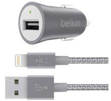 Belkin USB nabíječka do auta 2,4A/5V MIXIT Metallic + Lightning kabel - šedá - F8J186bt04-GRY