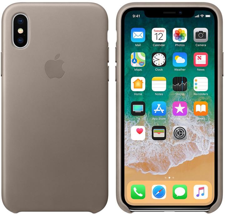 Apple kožený kryt na iPhone X, kouřová