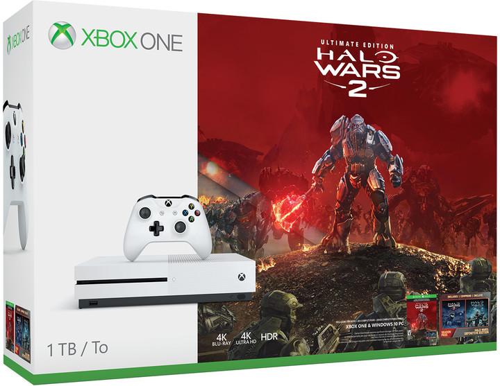 XBOX ONE S, 1TB, bílá + Halo Wars 2 + Halo Wars 1