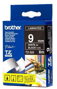 Brother - TZE-325, černá/bílá (9mm)