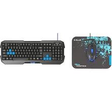 Set KB, myš a podložka E-Blue Polygon + Cobra II + Mazer S, černý/modrý, US - EKM820BK