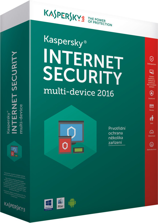 Kaspersky Internet Security multi-device 2016/2017 CZ, 4 zařízení, 1 rok, nová licence, box