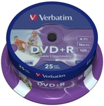 Verbatim DVD+R Printable (Inkjet) 16x 4,7GB spindl 25ks