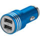 GoGEN autonabíječka, kovový bezpečnostní hrot, 2x USB, modrá