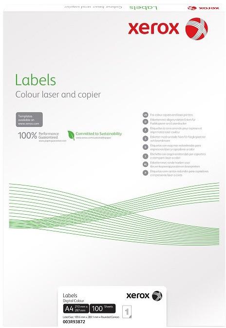 Xerox bílé samolepicí štítky pro černobílý tisk - ostré rohy, A4, 100ks, 2UP 201x148,5