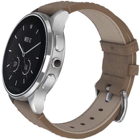 Vector SmartWatch Luna-Brushed Steel/Tan Leather/Sml Fit