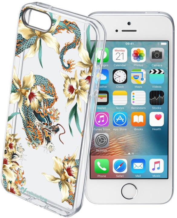Cellularline STYLE Průhledné gelové pouzdro pro iPhone 5/5S/SE, motiv DRAGONS
