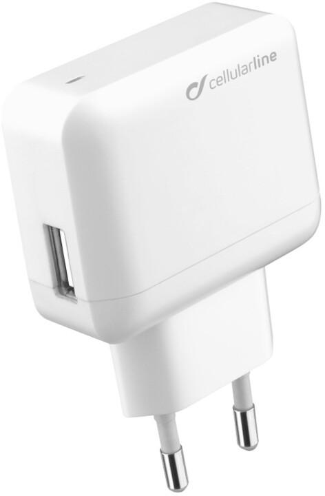 CellularLine nabíječka s bočním USB výstupem, bílá