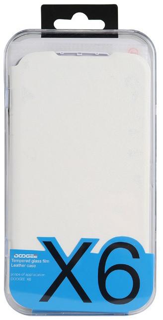 DooGee X6/X6 PRO Flip Case + Screen Protector Glass, bílá