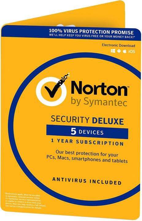 Symantec Norton Security Deluxe 3.0 CZ 1 uživatel, 5 zařízení, 1 rok - el. licence