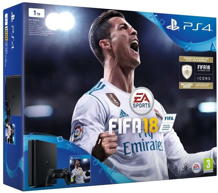 PlayStation 4 Slim, 1TB, černá + FIFA 18
