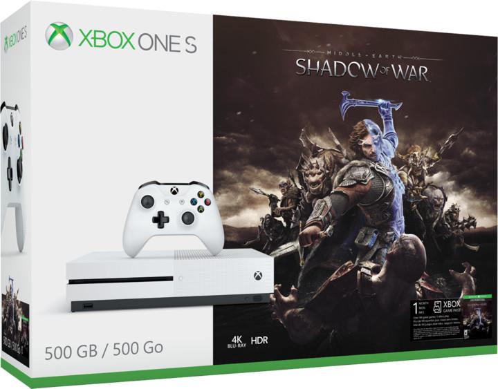XBOX ONE S, 500GB, bílá + Middle-Earth: Shadow of War