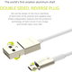 WSKEN MicroUSB nabíjecí/datový kabel, oboustranné konektory (USB i microUSB), zlatý