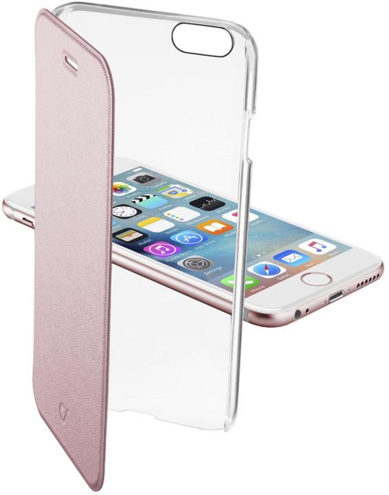 CellularLine Clear Book průhledné pouzdro pro Apple iPhone 6, růžová