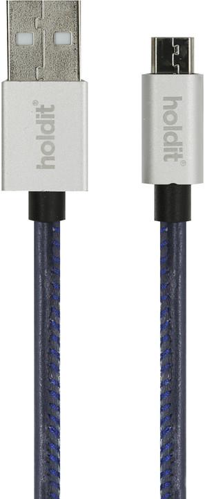 Holdit MicroUSB kožený 1m, modrá
