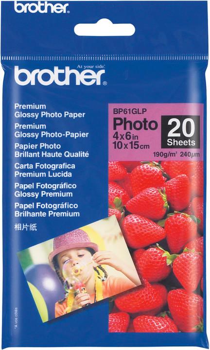 Brother Foto papír BP61GLP, 10x15 cm, 20 listů, 190g/m2, lesklý