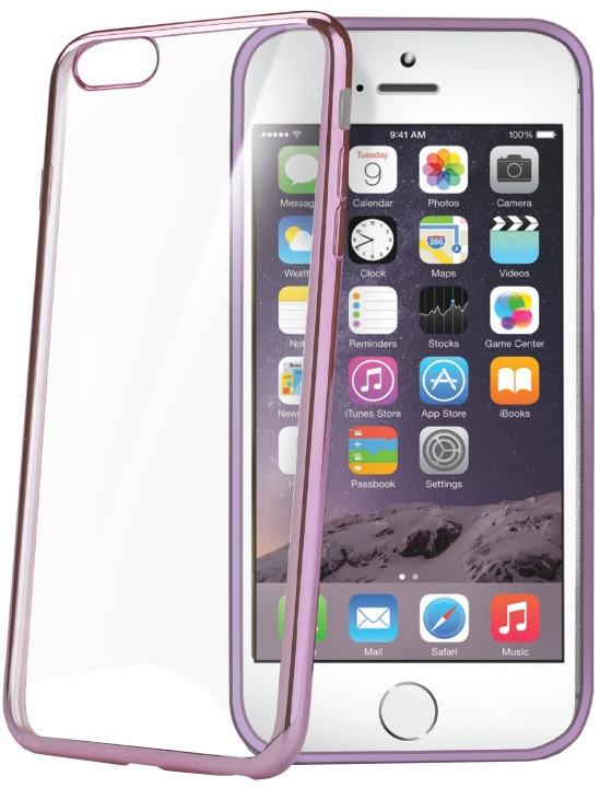 CELLY Laser, lemování s kovovým efektem pouzdro pro Apple iPhone 6/6S, fuchsiová