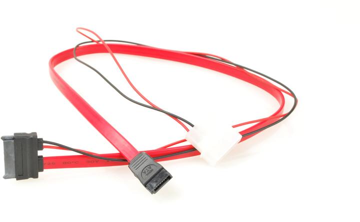 PremiumCord SATA datový + napájecí 0.5m slim