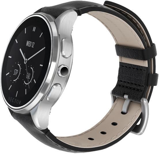 Vector SmartWatch Luna-Brushed Steel/Black Padded Leather